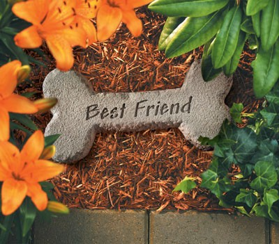 Dog Bone With Best Friend Pet Memorial Garden Stone