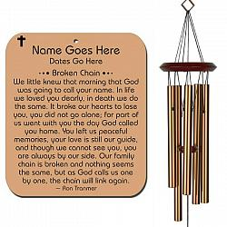 Broken Chain Personalized Memorial Wind Chime Bronze - Urn Available - Free Shipping