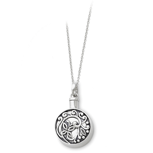Sterling Silver Antiqued Circle Remembrance Ash Holder 18in Necklace - Free Shipping
