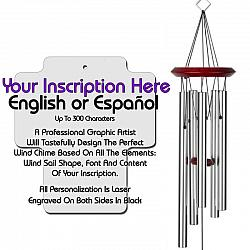 Personalized Memorial Wind Chimes - Cross Silver