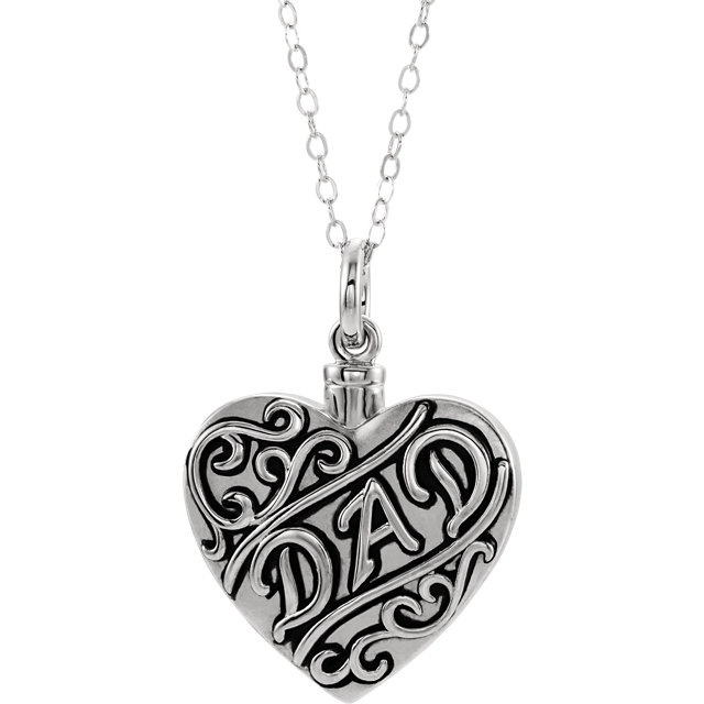 Dad Sterling Silver Cremation Necklace - Heart Shaped Ash Holder - Free Shipping