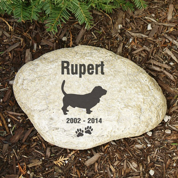 Pet Memorial Garden Stone Bassett - Pet Remembrance Gift - Free Shipping