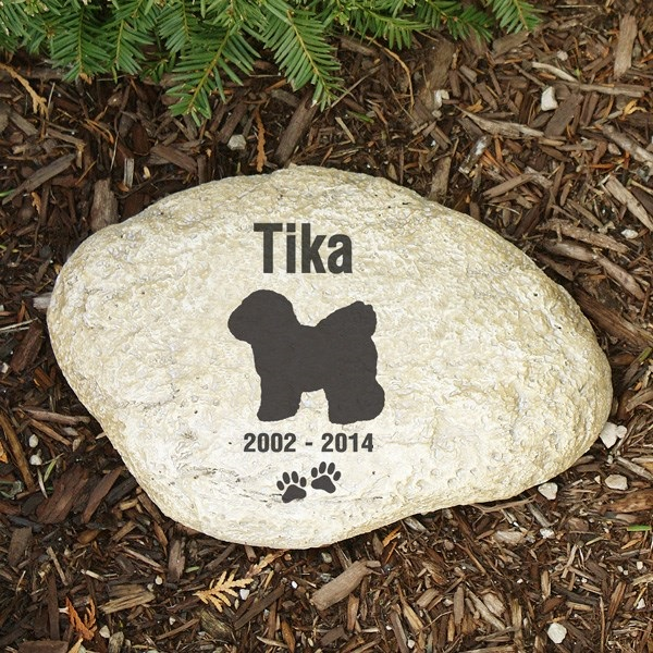 Pet Memorial Garden Stone Bichon - Pet Remembrance Gift - Free Shipping
