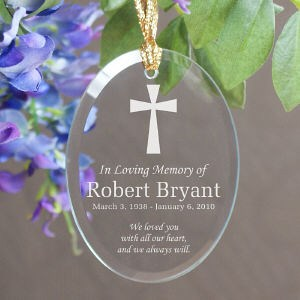 Engraved In Loving Memory Cross Ornament - Memorial Christmas Ornament