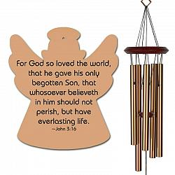 Angel Wind Chimes Bronze - John 3 16 Memorial - Urn Available - Free Shipping