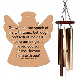 Angel Wind Chimes - Grieve Not Memorial Wind Chimes - Bronze - Urn Available - Free Shipping