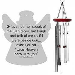 Angel Wind Chimes Silver - Grieve Not Memorial - Urn Available - Free Shipping