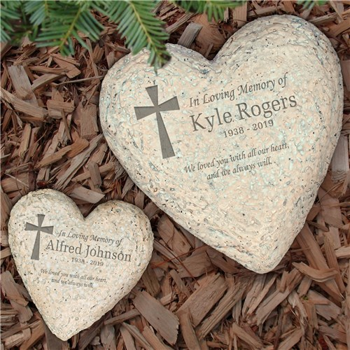 Personalized Sympathy Garden Stone Heart Shaped - Memorial Garden Stones