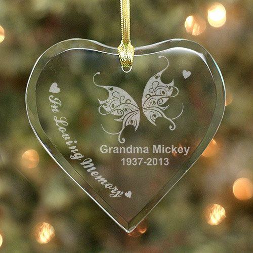 Heart With Butterfly Personalized Christmas Memorial Ornaments