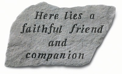 Here Lies a Faithful Friend and Companion Pet Memorial Garden Stone