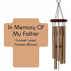 Father Memorial Wind Chimes - Cross Shaped Bronze