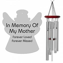 Angel Wind Chime - Memorial Wind Chimes for Mother - Silver, Free Shipping, Urn Available