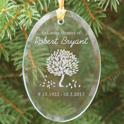 Engraved In Loving Memory Glass Christmas Memorial Ornament