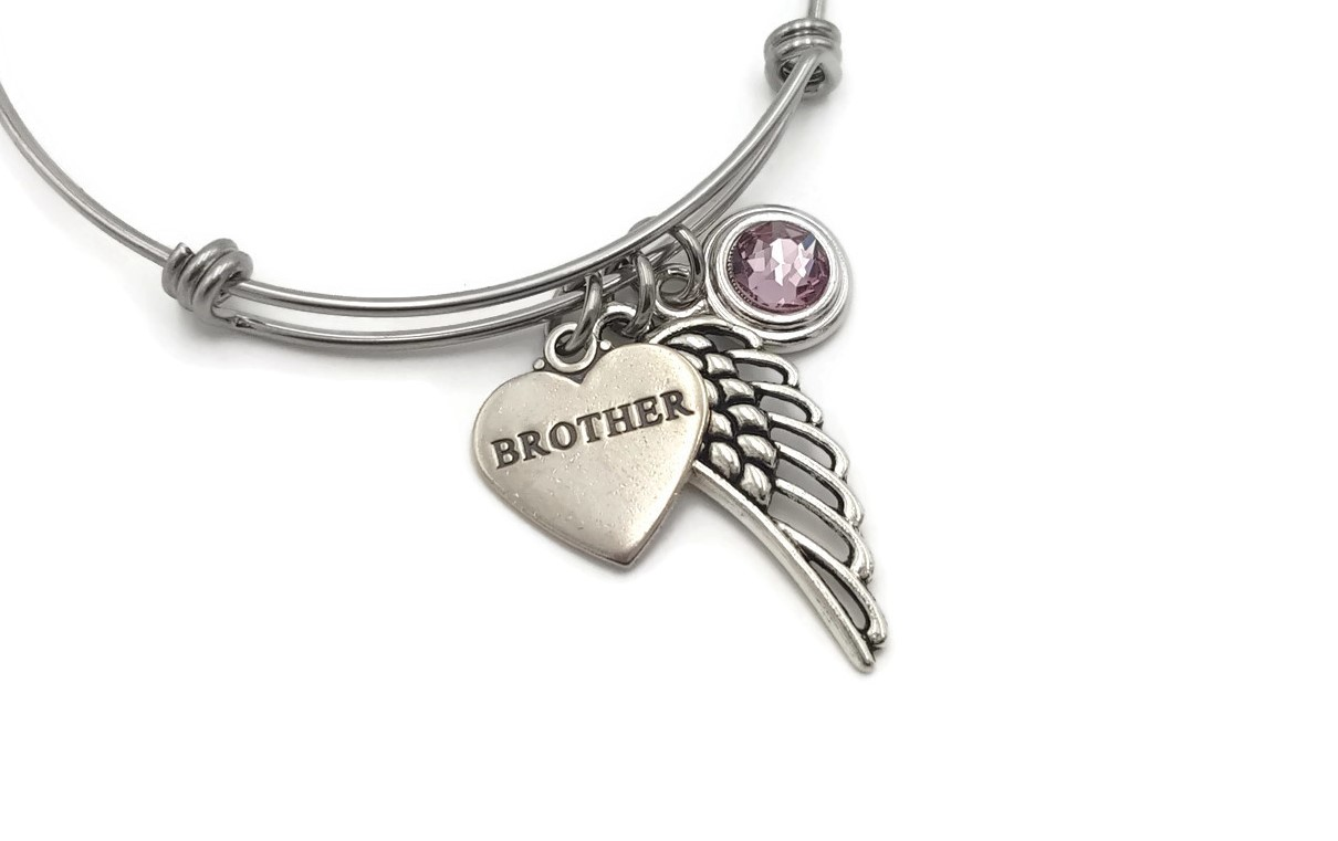 Remembrance Bracelet Loss of Son - Angel Wing Birthstone Bracelet - Free Shipping