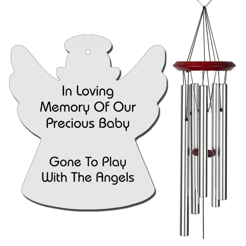 Angel Wind Chimes Silver - Baby Loss Memorial Gifts - Urn Available - Free Shipping