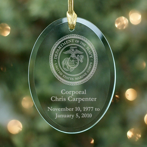 United States Marines Memorial Engraved Glass Ornament - Christmas Memorial