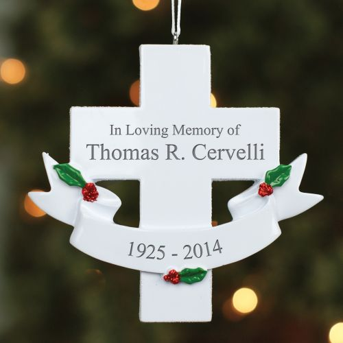 Engraved Memorial Cross Ornament - Memorial Christmas Ornaments
