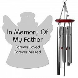 Angel Wind Chimes - Memorial Wind Chimes for Father - Silver, Urn Available, Free Shipping