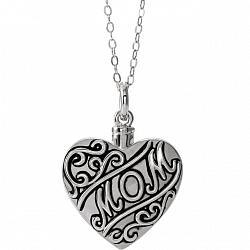 Sterling Silver Cremation Necklace - In Memory of Mom - Free Shipping
