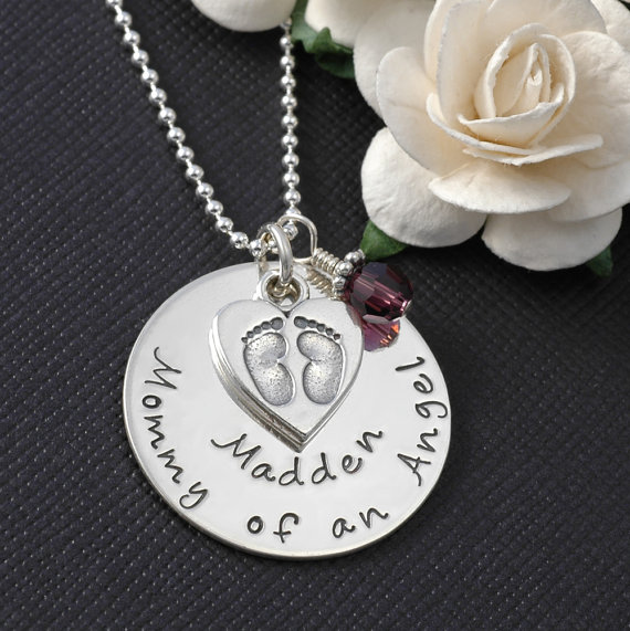 Mommy of an Angel Personalized Hand Stamped Necklace