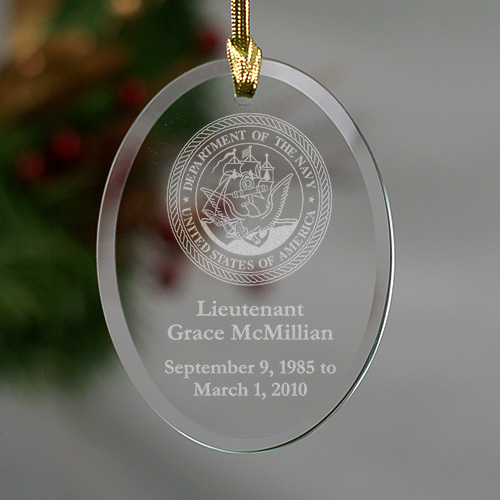 United States Navy Glass Christmas Memorial Ornament