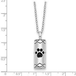 Sterling Silver Antiqued Cylinder with Paws Ash Holder Necklace - Free Shipping