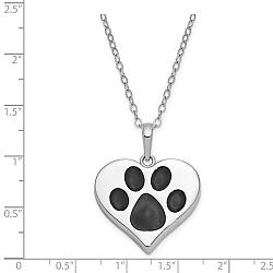 Sterling Silver Heart with Paw Print Pet Ashes Necklace - Free Shipping