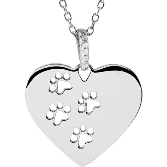 Diamond Heart Pawprints Necklace - Pet Memorial Jewelry
