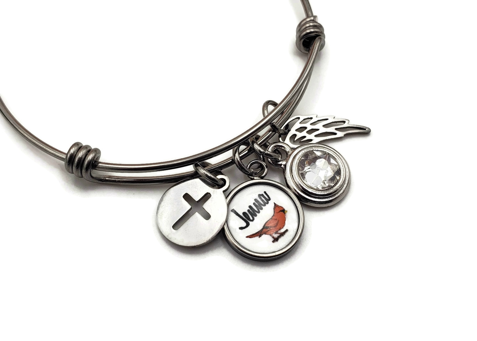 Remembrance Bracelet, Cardinal Charm, Angel Wing, Birthstone - Free Shipping