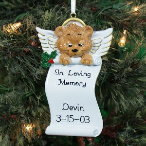 Personalized Angel Bear Memorial Christmas Ornament