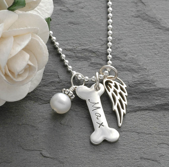 Dog Bone and Angel Wing Pet Memorial  - Pet Memorial Jewelry