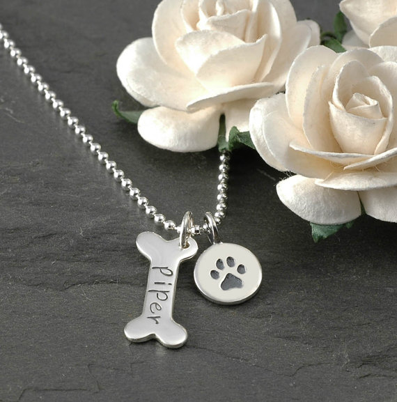 Dog Bone and Pawprint Pet Memorial Necklace