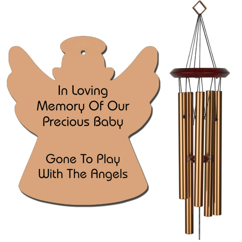 Angel Wind Chimes - Baby Loss Memorial Gifts - Urn Available - Bronze - Free Shipping