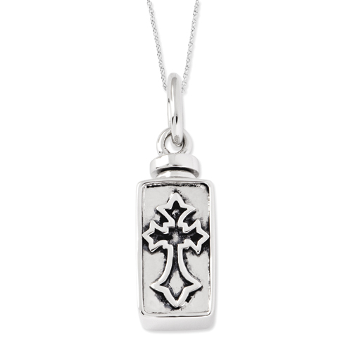 Sterling Silver Antiqued Rectangular Box Cross Ash Holder Necklace - Free Shipping