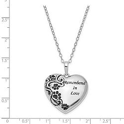 Sterling Silver Remembered in Love Paw Print Heart Urn - Free Shipping