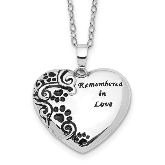 Sterling Silver Remembered in Love Paw Print Heart Urn