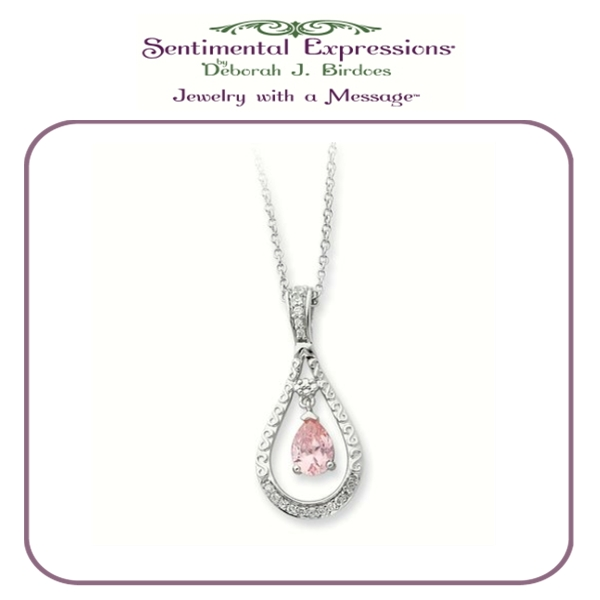 Sterling Silver Birthstone CZ Never Forget Tear Necklace - Deborah J. Birdoes