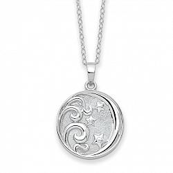 Sterling Silver Round Night Sky Ashes Necklace