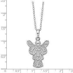 Sterling Silver Scrollwork Angel Ashes Necklace - Free Shipping