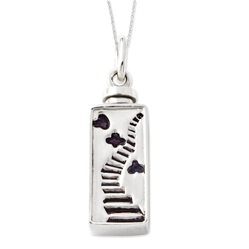Sterling Silver Enameled Stairway to Heaven Ash Holder Necklace - Free Shipping