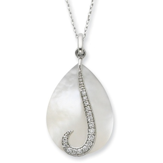 Mother of Pearl & CZ Tear From Heaven Sterling Silver Remembrance Necklace