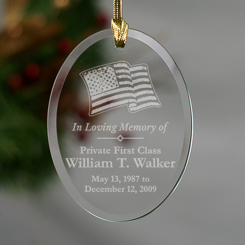 United States Military Flag Christmas Memorial Ornament